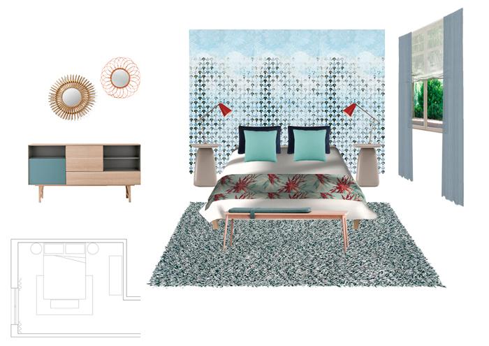 Decoracion dormitorio principal con mural de papel pintado y cortinas en tonos azules